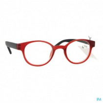 Pharmaglasses Leesbril Round +4.00 Red/black,Pharm