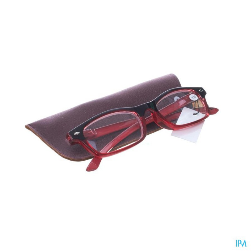 Pharmaglasses Leesbril Diop.+4.00 Red